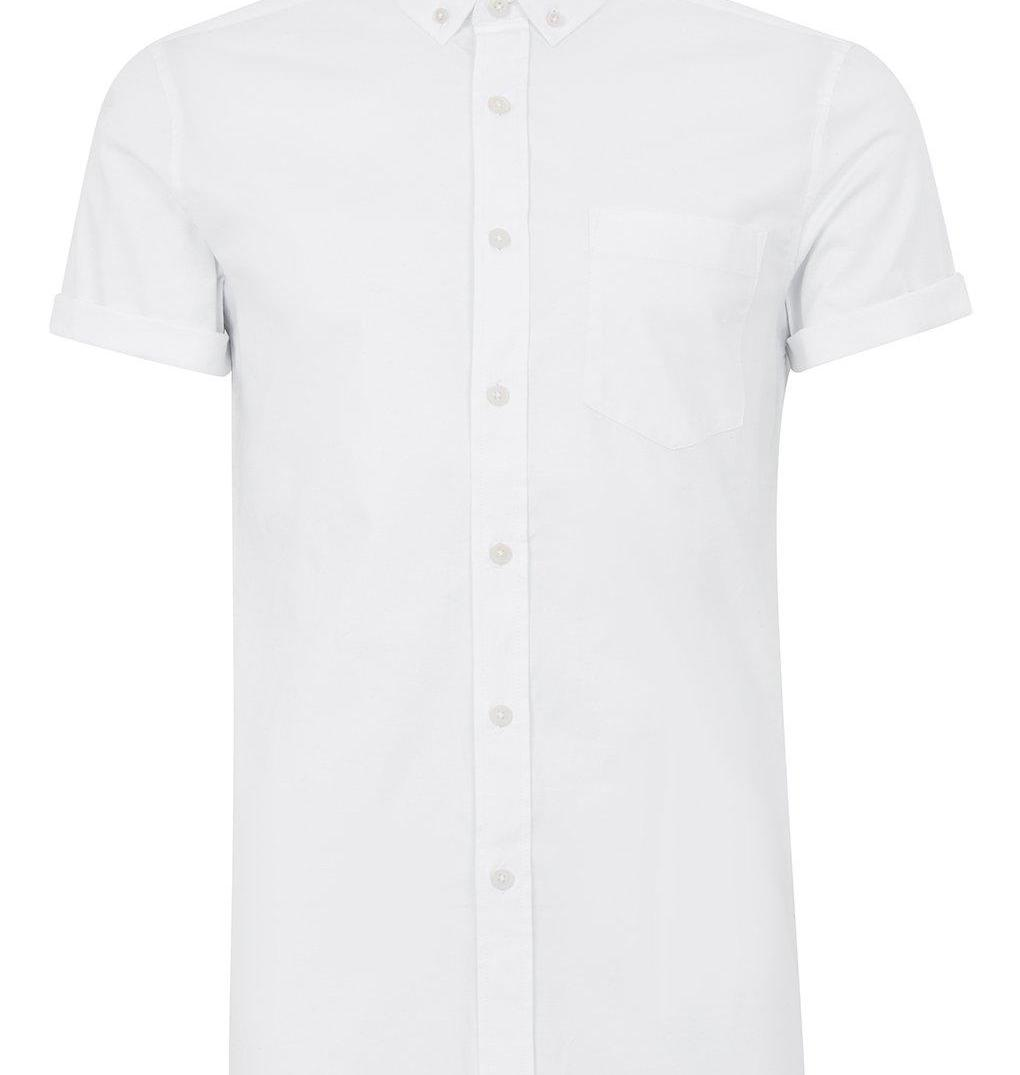 White Muscle Fit Oxford Short Sleeve Shirt Topman