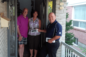 Mike Cluett going door to door