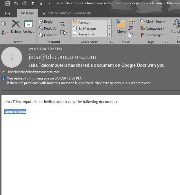 Google Docs Phishing Attack