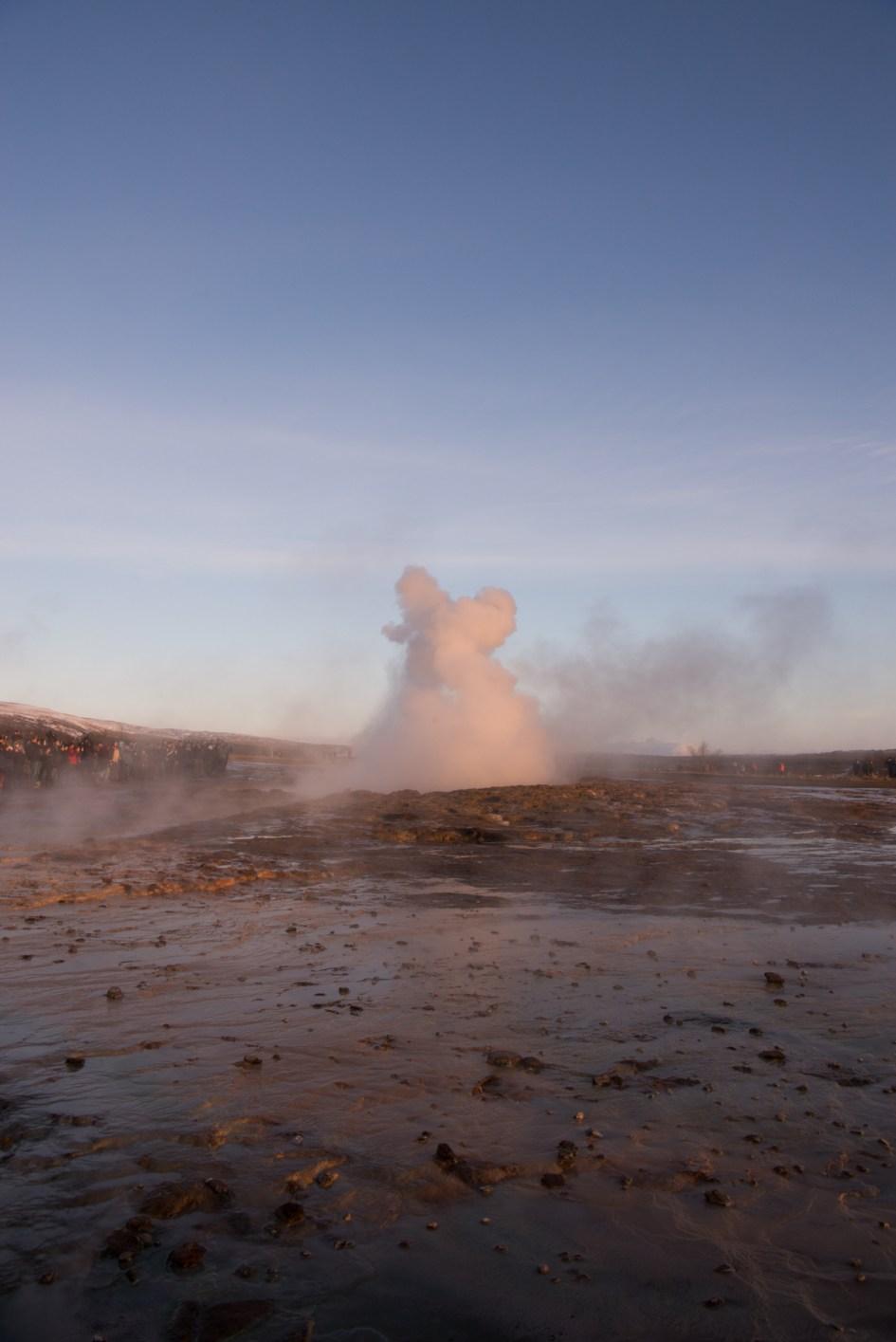 A small eruption at Strokkur Geysir, Iceland.