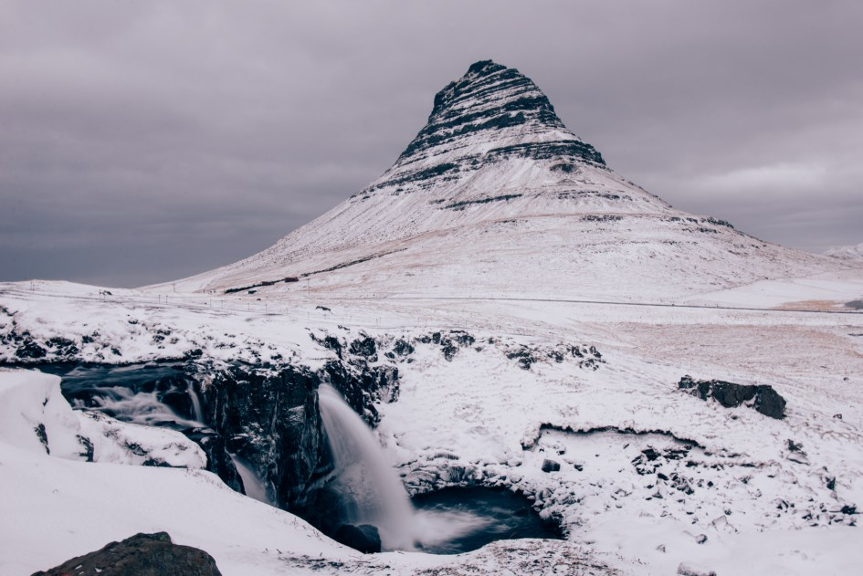 Iceland – Kirkjufell mountain and waterfall and horses. Trip to Iceland with Katie and Holly 1/1-1/7.