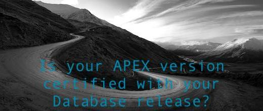 Is your APEX version certified with your Database release?