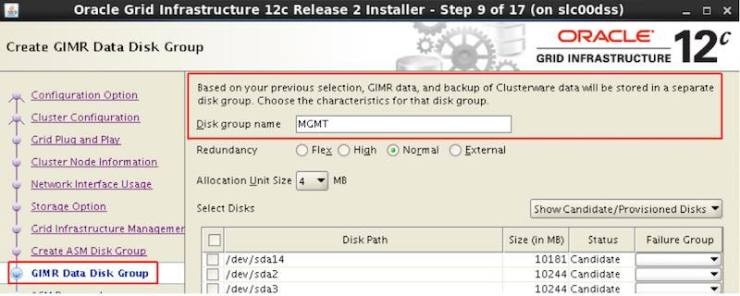 GIMR DB in Oracle Database 12.2