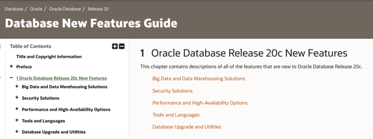Oracle Database 20c - Documentation and Cloud availability