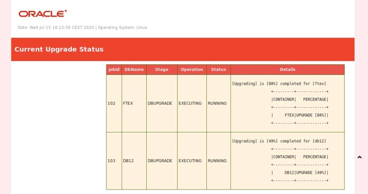 AutoUpgrade: Refresh Status Information automatically