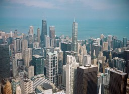 This was shot through glass windows from the Sears Tower observation deck.