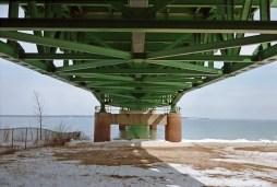 The underside of Mackinac Bridge.