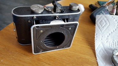 """This is the """"donor body"""" camera after I used some leather conditioner to clean the body."""