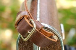 The nicely appointed leather strap.