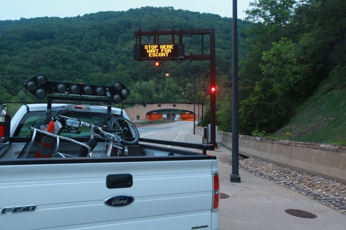 Persephone loaded on the back of a pickup for the drive through the Cumberland Gap tunnel