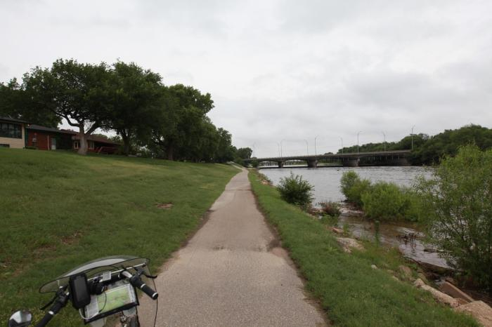 The bike trail leading out of Wichita is quite pleasant.