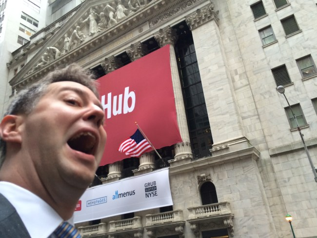 I'm pretty stoked.  The morning of the IPO at the corner of Wall & Broad