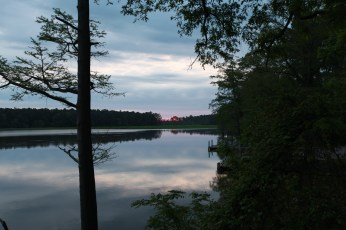 The sun just peaking out over the Chickahominy river.