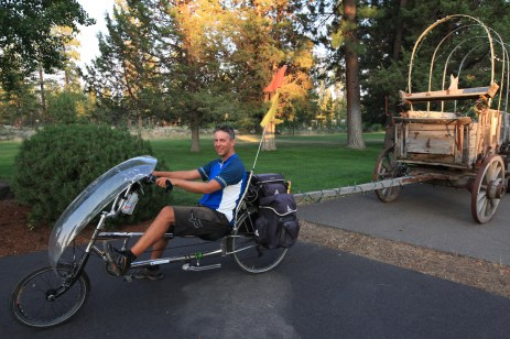 Persephone and me hauling an old skool Oregon Trail wagon.