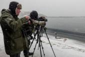 Yorkshire birders don't let a bit of snow stop them.