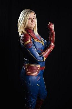 studio portrait of atlanta captain marvel cosplay