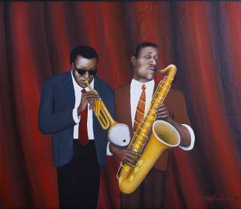 """Miles and Sonney, 2016</br> acrylic on canvas, 23""""  x 27""""</br> $3000"""