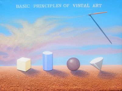 "Principles of Art, 2009</br> mixed media and acrylic on canvas, 36"" x 48""</br> $4800"