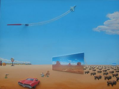 Way Out West, 2014</br> mixed media and acrylic on canvas, 30″ x 36″/br> $4200 – SOLD
