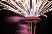 New Year's fireworks on the Seattle Space Needle. Photo by Mike Higdon