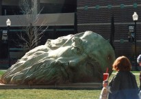 On the front lawn of the IGT-Mathewson Knowledge Center at UNR, Mischell Riley's DaVinci head from Burning Man now has a new place to rest. Photo by Mike Higdon