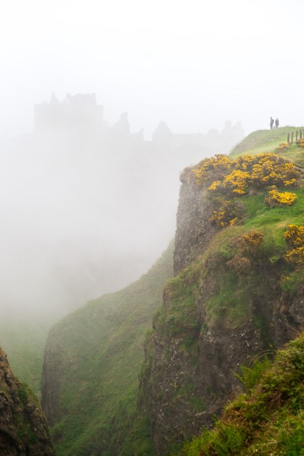 Donnuttar Castle through the foggy mist.