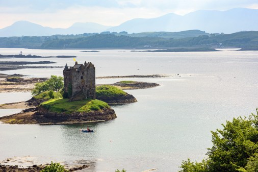 Castle Stalker on a loch was also Castle Arg the Monty Python's Holy Grail movie.