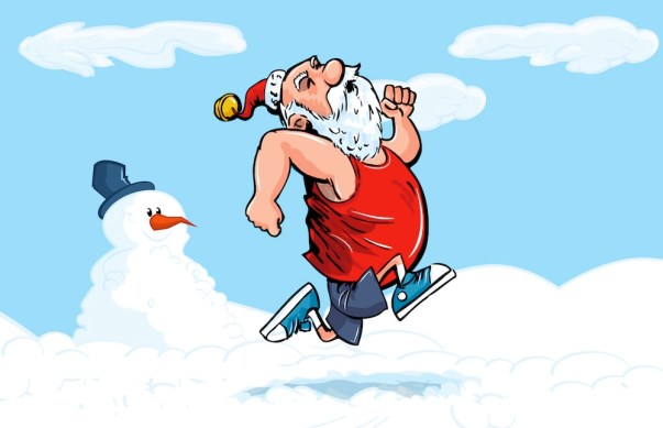 Cartoon Santa running for exercise in the snow with snowman