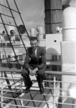 Dad on board the RMS Aquitania