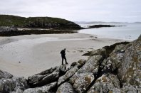 First beach of silvery sand after crossing the causeway on to Eriskay from South Uist