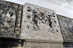 The Cavendish stags over the fireplace in the main entrance.