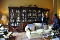 The collection of Staffordshire figurines in the sitting room.