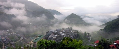 A vista over Banaue in the early morning mist.