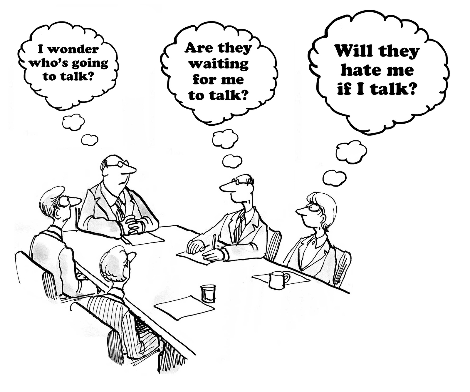 Business Cartoon About Hesitancy To Talk In A Meeting