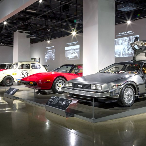 Original Back to the Future DeLorean Museum Stand at Petersen Automotive Museum