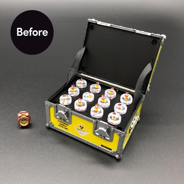 DeLorean Plutonium Case and clock before mods installed