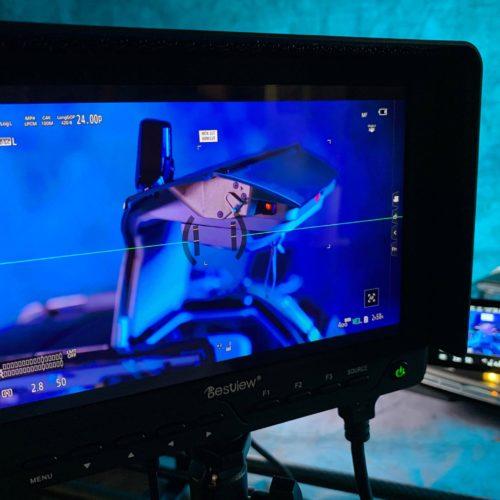 Filming DeLorean model with open gull-wing door