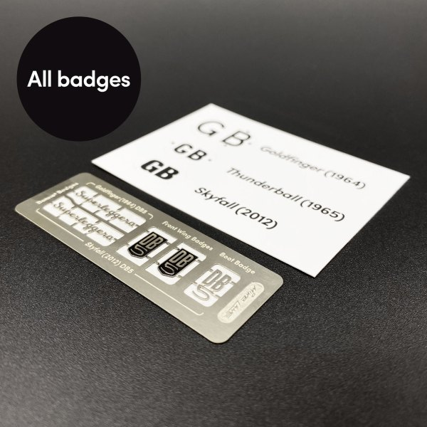 All badges for Eaglemoss DB5 in Mike Lane Mods set