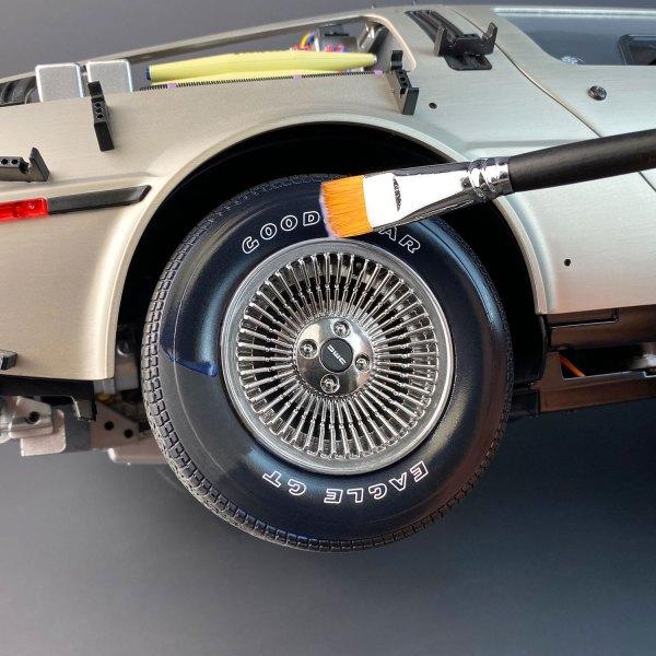 Applying Model Tyre Dressing to DeLorean model tyre