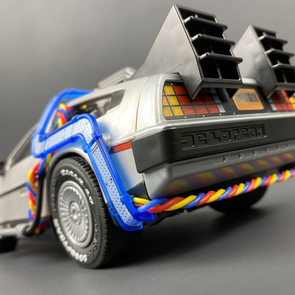 Rear of Playmobil DeLorean Flux Wires accessory installed