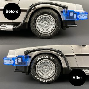 Before and after Playmobil DeLorean Tyre Transfers installed