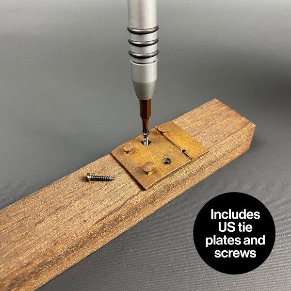 US tie plates and screws for DeLorean model railroad