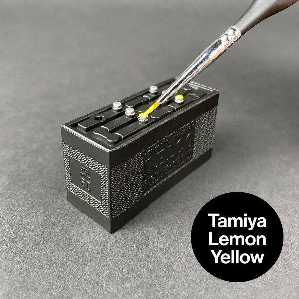 Painting Ecto-1 battery caps with Tamiya Lemon Yellow