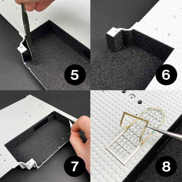 Ecto-1 Rear Carpets, Metal Grille and Metal Trims installation, steps 5–8