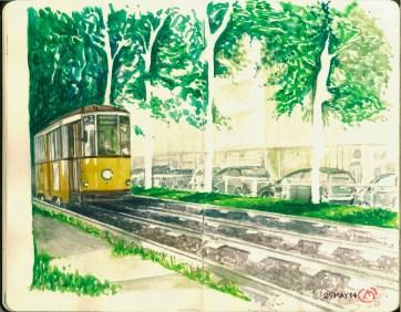 Tranvia. Milan. Watercolor