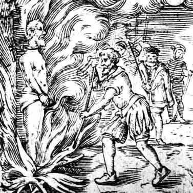 Calvin burning Servetus at the stake over Trinitarian disagreement - artist's depiction.