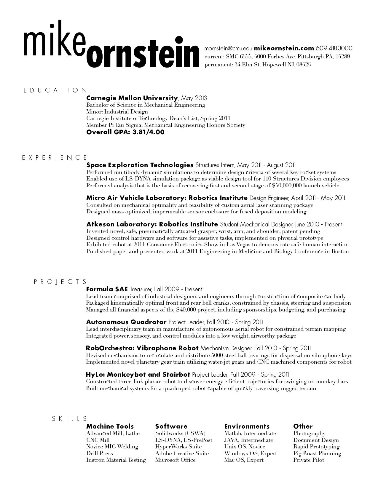 Resume rough draft – Mike Ornstein