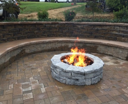 Half Moon Paver Bench with Paver Patio and Built in Fire Pit