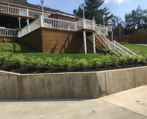 Concrete Retaining Wall with Landscaping