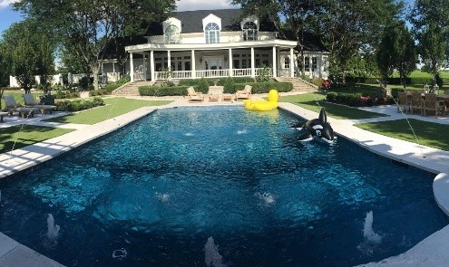 New Pool Installation with Pool House and Paver Dining area from Pool House